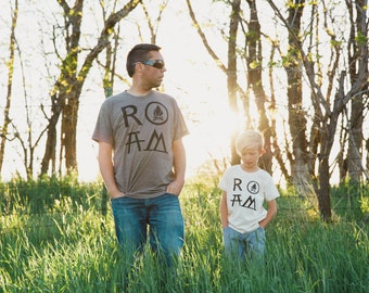 Father son shirts - ROAM Tshirt set, graphic tees, father daughter, gift for dad, matching shirts, camping and hiking, wanderlust print