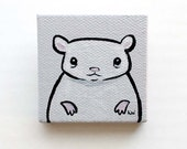 Hamster Painting Miniature - Hamster Tiny Art - Original Wall Art Acrylic on Canvas 2 x 2 Inches Miniature Painting - Cute Animal Art