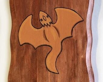 Dragon Painting - Original Wall Art Acrylic Miniature Painting on Wood by Karen Watkins - Orange Mythical Creature Art - Small Painting