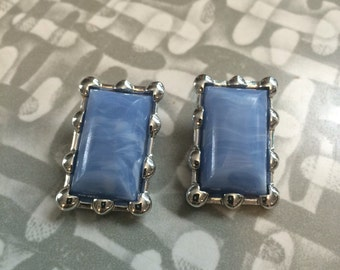 Unique Vintage clip on silver Blue thermoset Earrings signed Coro