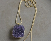 Druzy Amethyst Pendant Necklace long