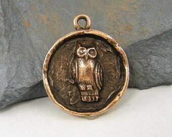 Owl Charm Owl Pendant Antique Copper Round Owl Charm Owl Medallion Bird Pendant Charms |NU1-6|1 XN