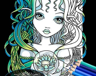 Kallan Lotus Angel Digital Download Coloring Page Myka Jelina Art