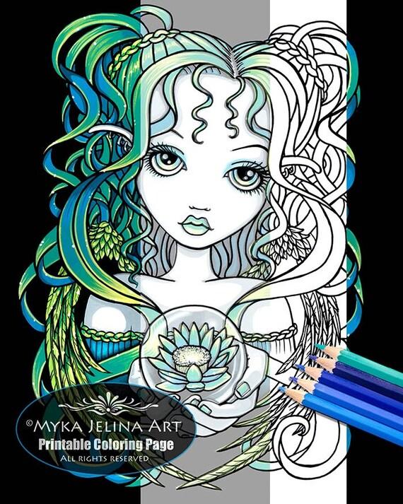 Kallan lotus angel digital download coloring page myka jelina for Myka jelina coloring pages