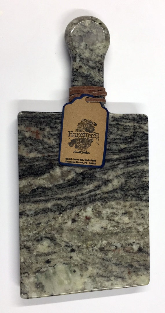 Granite Cheeseboard - Stone Color White Kinawa - Artisan Crafted Kitchen Accessory Serving Cheese Snack Tray Houseware