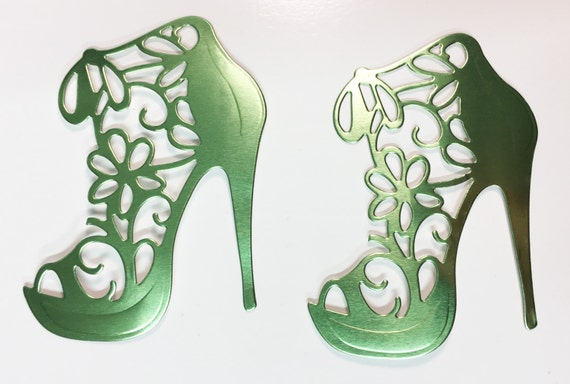 Flower Lace High Heel Light Green Metal Foil Die Cut 10 Pieces Elegant Feminine Embellishment Scrapbook Greeting Card Art Craft Mixed Media