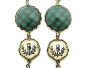 Scottish Tartan Jewelry - Ancient Romance - Rob Roy MacGregor Tartan Robin Hood Tartan Earrings with Thistle Charms
