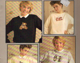 Country Sweats for Cross Stitchers Pattern Leaflet. Nine Designs by Mimi using Waste Canvas. Vintage Cross Stitch Leaflet by Leisure Arts