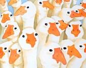 Goose bird art / Watercolor PRINT - Geese  Flock / Nature painting / Woodland natir wildlife artwork / Farm animal art / Duck painting B