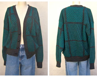 Vintage Mod Cardigan / bold print cardigan sweater / LONDON FOG / teal black herringbone / Unisex mens small,  womens medium