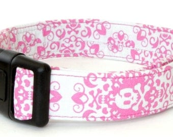 Gray and Pink Skull n Crossbones - Martingale & Buckle 3/4 - 2 Inch Width - XS - XXL