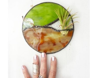 Round Stained glass Panel, Air Plant Holder-  Amber Tortoiseshell