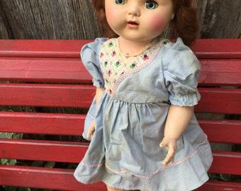 Vintage Hard Plastic Walking Doll with Sleepy Eyes and Teeth