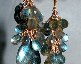 14k Leverback GF Labradorite Gemstone Briolette Cluster Earrings