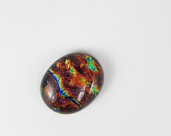 Dichroic Fused Glass Cabochon - Brown Plum - 1678 - 21mm x 17mm
