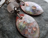 Simply Sweet ... Enameled Copper Charms, Lampwork and Brass Wire-Wrapped Rustic, Boho Earrings