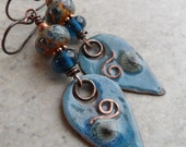 Denim Drops ... Copper Enameled Charms, Lampwork and Copper Wire-Wrapped Boho, Beachy Earrings