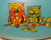 Vintage Retro Owl Tray, Enesco Mid Century Modern Serving Tray, Hooters, Owls, Big Eyes, Transferred Owls