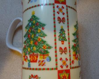 Christmastime by Roy Kirkham Christmas Coffee Mug, Hot Cocoa Mug, Christmas Tree, Presents, Fine Porcelain, Bone China, Made in England