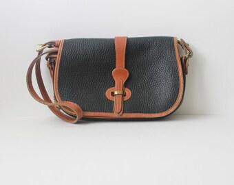 Dooney and Bourke Bag / Distressed Pebbled Leather Handbag / Black Leather Saddle Bag