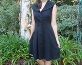 Vintage Black Linen Sleeveless Sailor Dress S/M