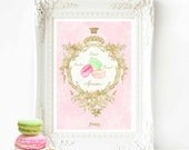 French macaron watercolour, watercolor, kitchen print in pink and gold, A4 giclee wall art