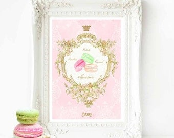French macaron watercolor illustration, kitchen print in pink and gold, A4 giclee