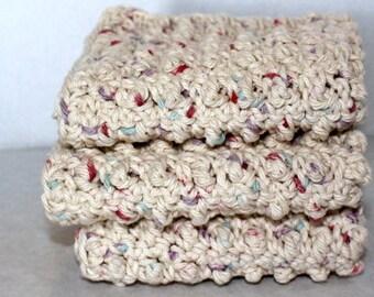Cotton Crochet Washcloths - Set of 3