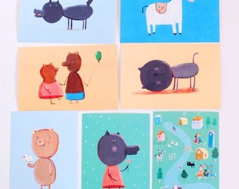 7  postcards, card set, nursery art, home decor, wall decor, art print, kids wall art
