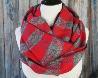 Ohio State Scarf - Red Gray Plaid Scarf - Ohio State Scarves -  Buffalo Plaid Scarf - Flannel Scarf - Buckeyes Scarf -Circle Scarf