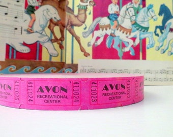 Vintage Carnival Tickets - 50 Vintage Tickets - Hot Pink - Vintage Amusement Park - Avon Park Recreation Center - Off Roll Tickets - Journal