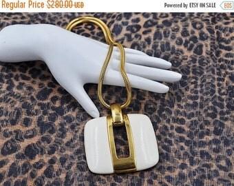 ON SALE Vintage Lanvin Paris Modernist Pendant Necklace, Gold & White Lucite, Huge Pendant, Keyhole, Chunky, 70's Runway! #b276