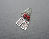 Spring Sale Red Bead Earrings Glass Beads & Silver Dangle Sterling Silver Fine Silver Rectangle Stamped Silver