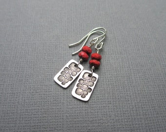 Red Bead Earrings Glass Beads & Silver Dangle Sterling Silver Fine Silver Rectangle Stamped Silver
