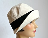 Canvas Cloche with Turned Up Brim - Women's Cloche Hat - Made to Order