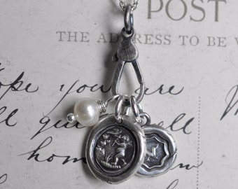 fob wax seal charm catcher - sterling silver charm holder for wax seal jewelry