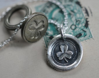 shamrock pendant - shamrock wax seal necklace ... hope, faith and love - silver wax seal jewelry