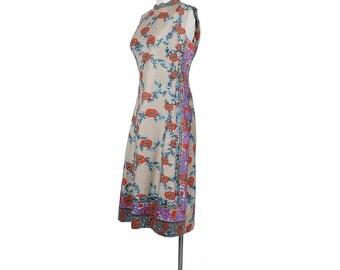 Vintage 60s Dress - Vintage 70s Dress - 60s Shift Dress - 70s Shift Dress - Ethnic Print - Asian Print - Orange Purple Tan - Large - L - XL