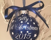 Baby Boy's First Christmas Personalised Bauble Ornament