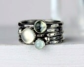 Hammered Silver Stacking Rings with Moonstones and Aquamarine, Stackable Gemstone Rings