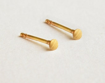2mm dot stud earrings, solid 14k gold earrings, 14k gold stud earrings, round stud earrings, geometric gold earrings, 2mm stud earrings