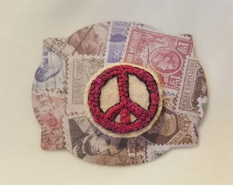 """Peace Sign Pin Brooch - All French Knots Embroidery on Wool - 1.5"""""""