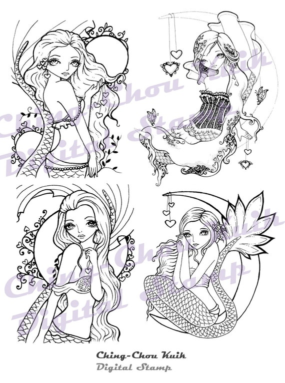 Valentine Love Mermaid Digital Stamp Set of 4 Images - Instant Download / Heart Cresent Moon Fantasy Fairy Girl Art by Ching-Chou Kuik