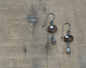 Smoky Quartz Slice and Labradorite Teardrop Earrings