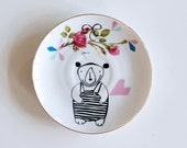 Bear in a bathing suit small vintage plate