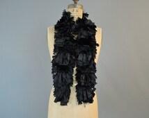 Victorian Fringed Silk Dress Trim, Antique 1800s Fringe & Chenille Trim 44 inches long