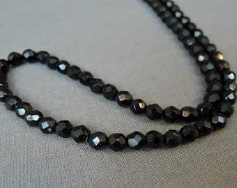 Vintage 50s Black Glass Beaded Necklace, 18 inch,  Vintage 1950s Costume Jewelry