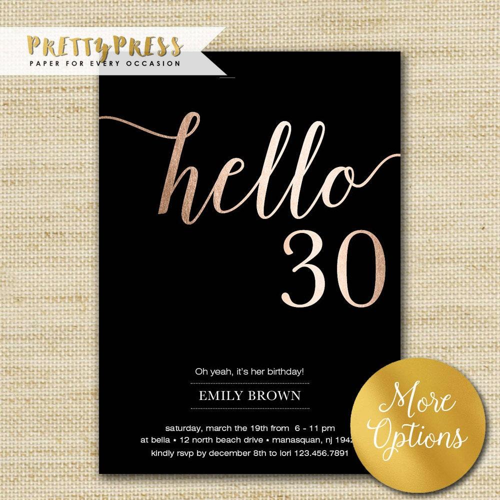 30th Birthday Invitation Modern Gold Foil Hello 30 Thirty