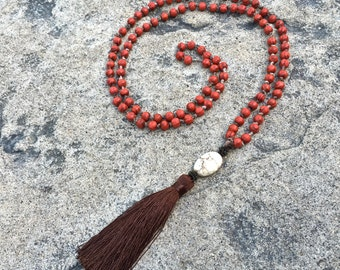 Tassel Necklace - Mala Necklace - Buddhist Prayer beads - Yoga Beads stone and tassel necklace OOAK