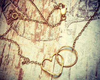 Namaste Infinity Breath and Love Necklace- Heart and Endless Circle - Jennifer Cervelli Jewelry